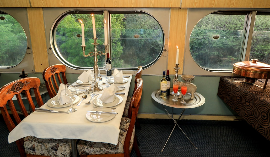 View from the dining carriage on the Stimela Star en route to Hwange, Zimbabwe